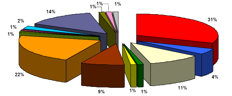 Structure of the non-public postal operators by area of activity in domestic traffic in 2007 correspondence parcels correspondence and direct mail correspondence and parcels parcels and non-addressed