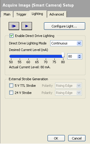 Figure 6.4 - Configuring lighting properties in Vision Builder AI Conclusion The NI-1742 provides a flexible and convenient way to setup and control the lighting of your inspection.