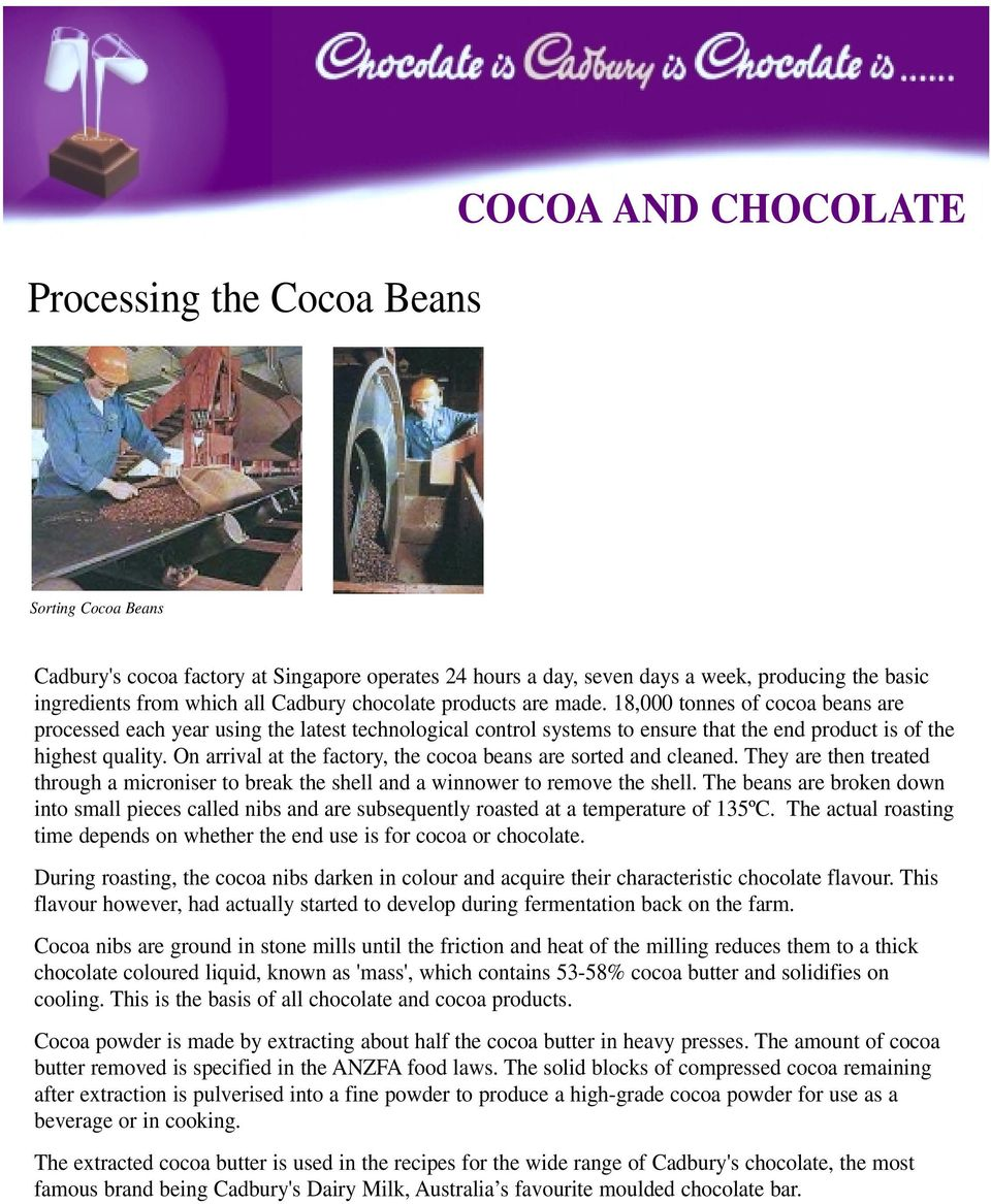 On arrival at the factory, the cocoa beans are sorted and cleaned. They are then treated through a microniser to break the shell and a winnower to remove the shell.