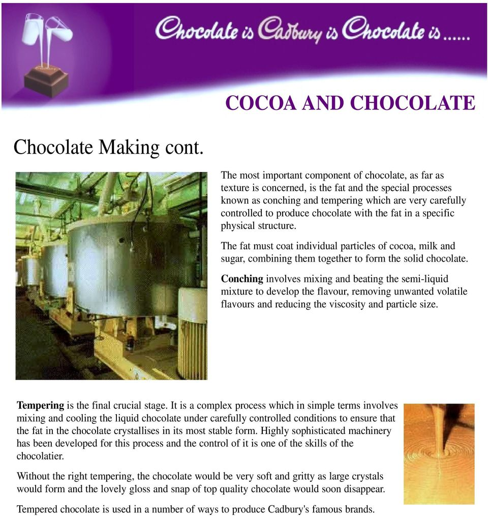 chocolate with the fat in a specific physical structure. The fat must coat individual particles of cocoa, milk and sugar, combining them together to form the solid chocolate.