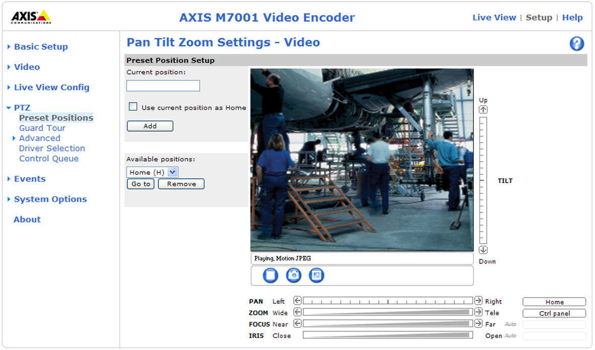 AXIS M7001 - Pan Tilt Zoom PTZ Configuration Once a PTZ driver has been installed, additional sub menus will appear in the menu to the left under PTZ.