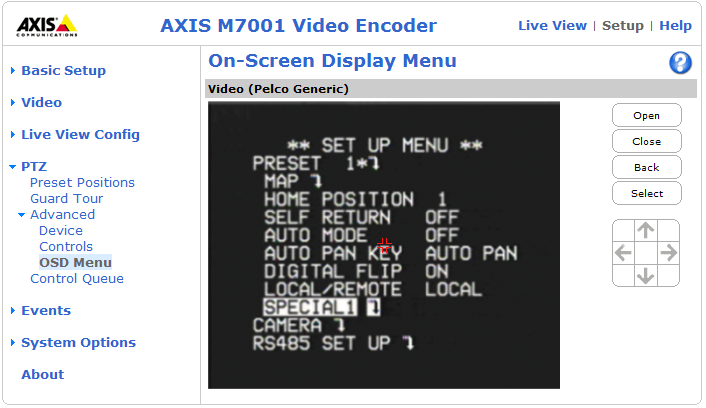 AXIS M7001 - Pan Tilt Zoom Advanced Device Settings The device settings window is for driver-specific settings, so the appearance of this window can vary depending on the driver installed.