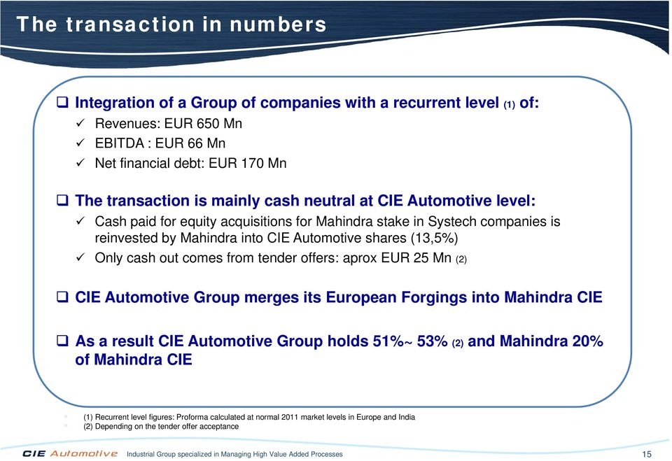 tender offers: aprox EUR 25 Mn (2) CIE Automotive Group merges its European Forgings into Mahindra CIE As a result CIE Automotive Group holds 51%~ 53% (2) and Mahindra 20% of Mahindra CIE (1)