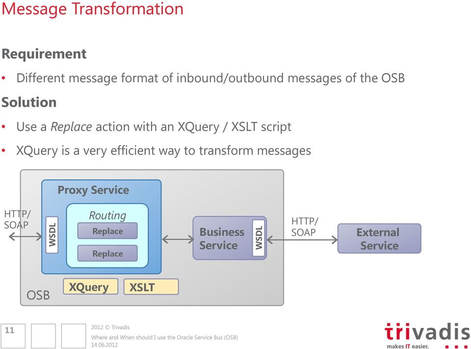 XQuery / XSLT script XQuery is a very efficient way to transform messages