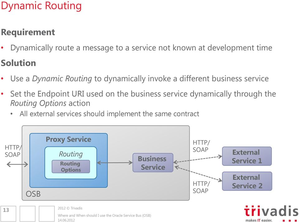 business service dynamically through the Routing Options action All external services should implement the