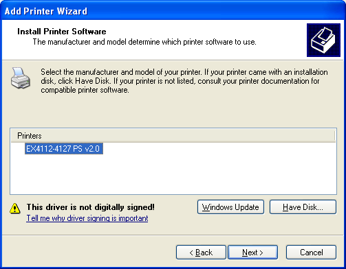 INSTALLING PRINTER DRIVERS 15 NOTE: If the device is not found on the network, the device is displayed instead of the Finish button.
