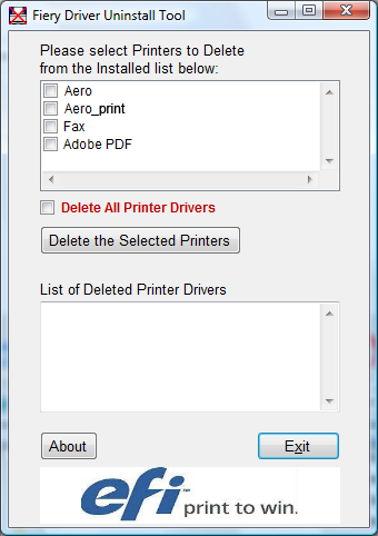 INSTALLING PRINTER DRIVERS 19 TO USE PRINTER DELETE UTILITY 1 Click Start, choose Programs, and then choose Fiery. 2 Click FieryPrinterDeleteUtility.