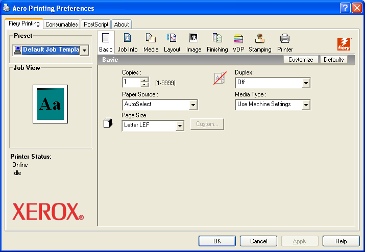 PRINTING 40 TO SET DEFAULT PRINT OPTIONS FOR WINDOWS PRINT JOBS USING THE POSTSCRIPT PRINTER DRIVER 1 Windows 2000: Click Start, choose Settings, and then choose Printers.