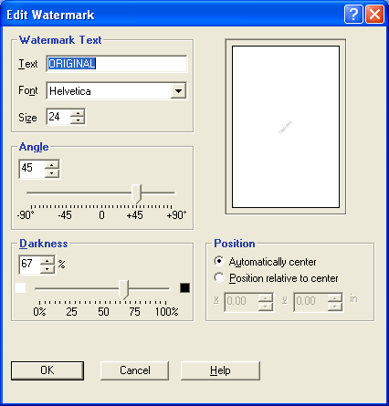 PRINTING 42 2 Select a watermark from the menu and click Edit. The Edit Watermark dialog box appears. 1 Preview area 1 3 Specify Font and Size of the text in the Watermark Text area.