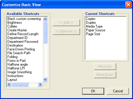 PRINTING 48 4 Click the Basic icon and then click Customize. The Customize Basic View dialog box is displayed. The dialog box contains the shortcuts for print options.