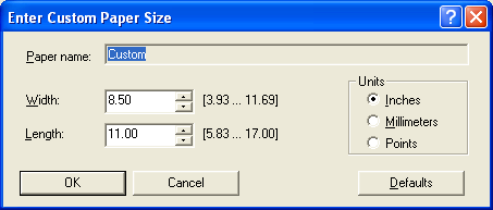 PRINTING 52 Custom page sizes for Windows PCL printer driver When you define or edit a custom page size, or print your job on a custom page size in the PCL printer driver, use the following