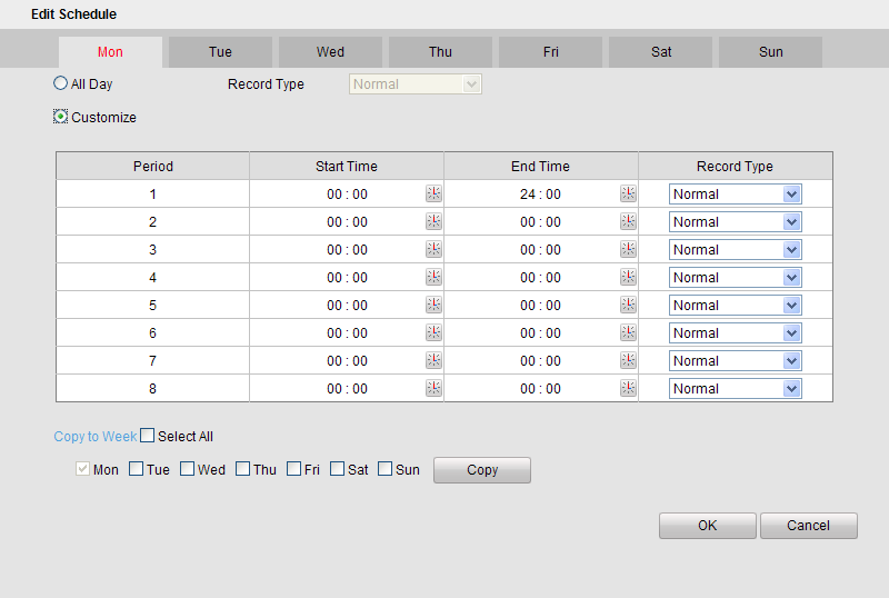 4. Choose the day in a week to configure scheduled recording. 5. Click Edit to edit record schedule.