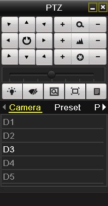 Figure 4. 5 PTZ Toolbar 2. Choose Camera in the list on the menu. 3. Double click the preset in the Preset list to call it. 4.2.3 Customizing Patrols Purpose: Patrols can be set to move the PTZ to different key points and have it stay there for a set duration before moving on to the next key point.