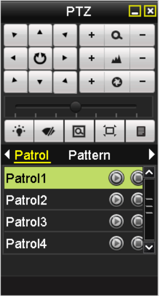 1. In the PTZ setting interface. Menu> Camera> PTZ> More Settings 2. Select the patrol number, and then click to call the patrol. 3. Click to stop it. Calling patrol in live view mode: 1.
