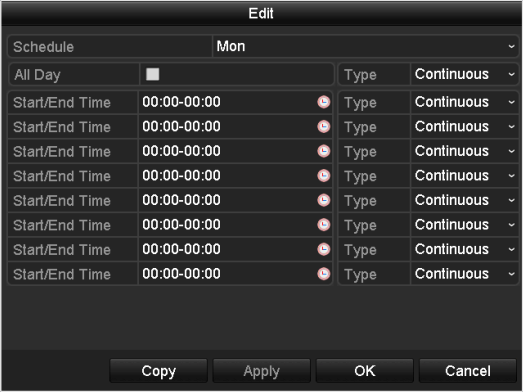 5.2 Configuring Record Schedule Purpose: Set the record schedule, and then the camera automatically starts/stops recording according to the configured schedule. 1. Enter the Record Schedule interface.