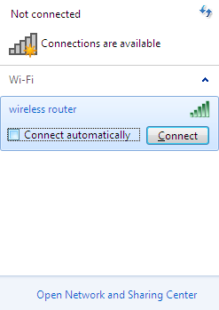 6. In the opened window, in the list of available wireless networks, select the wireless network DSL-2640U and click the Connect button. 7. Wait for about 20-30 seconds.