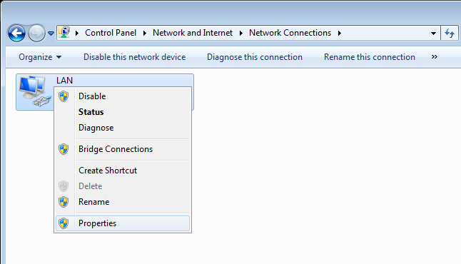 Obtaining IP Address Automatically in OS Windows 7 1. Click the Start button and proceed to the Control Panel window. 2. Select the Network and Sharing Center section.