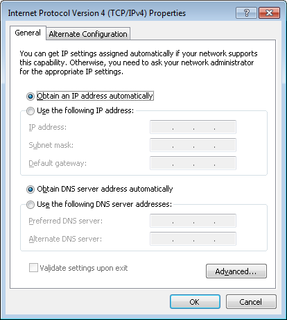 6. Select the Obtain an IP address automatically and Obtain DNS server address automatically radio buttons. Click the OK button. 7.
