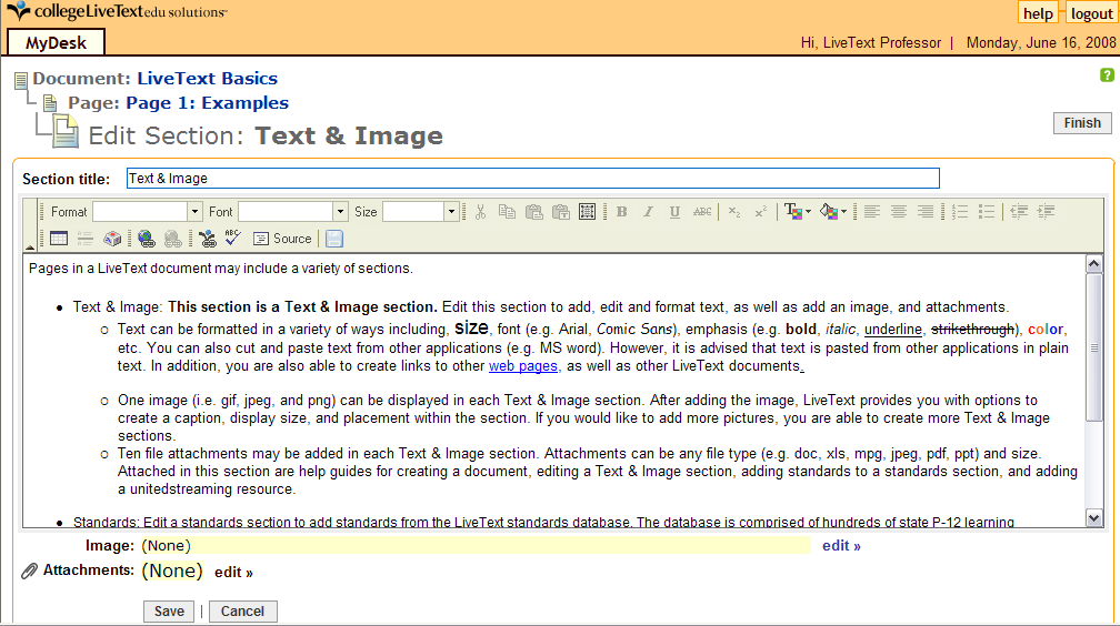 Page of 5 3 4 Using LiveText s HTML Editor Use LiveText HTML editor to enter and format text and paste text from other text editors.