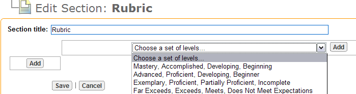 Page 33 of Create a Rubric Section. While viewing the document, click the edit page link on the page where the new Rubric section is needed.. Click the Create Section button. 3. Select the Rubric option.