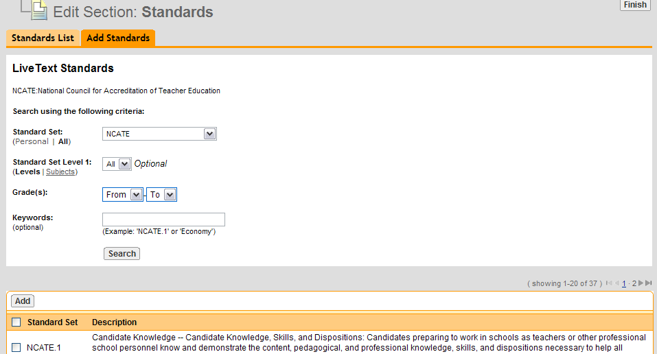 Page 8 of Edit a Standards Section. From within the document, click the Edit link that corresponds with the Standards section. The edit link is located to the right of each section.