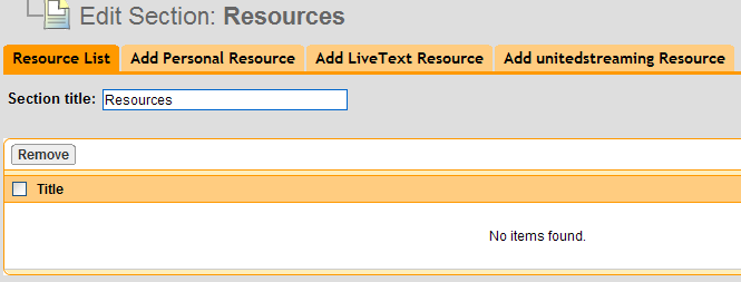 Page 88 of. Rename the Resources section (optional) in the Section title text box located below the Resource List tab. 3.