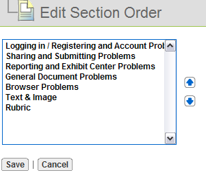 Page 94 of Manage Sections Users can create, sort, hide, unhide, edit titles, copy, delete, and edit/modify sections within a page. Order Sections.