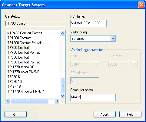 "Commissioning a project 5.8 Managing add-ons and license keys 5. Configure the corresponding ""connection parameters"", depending on the selected connection. 6. Click ""OK""."