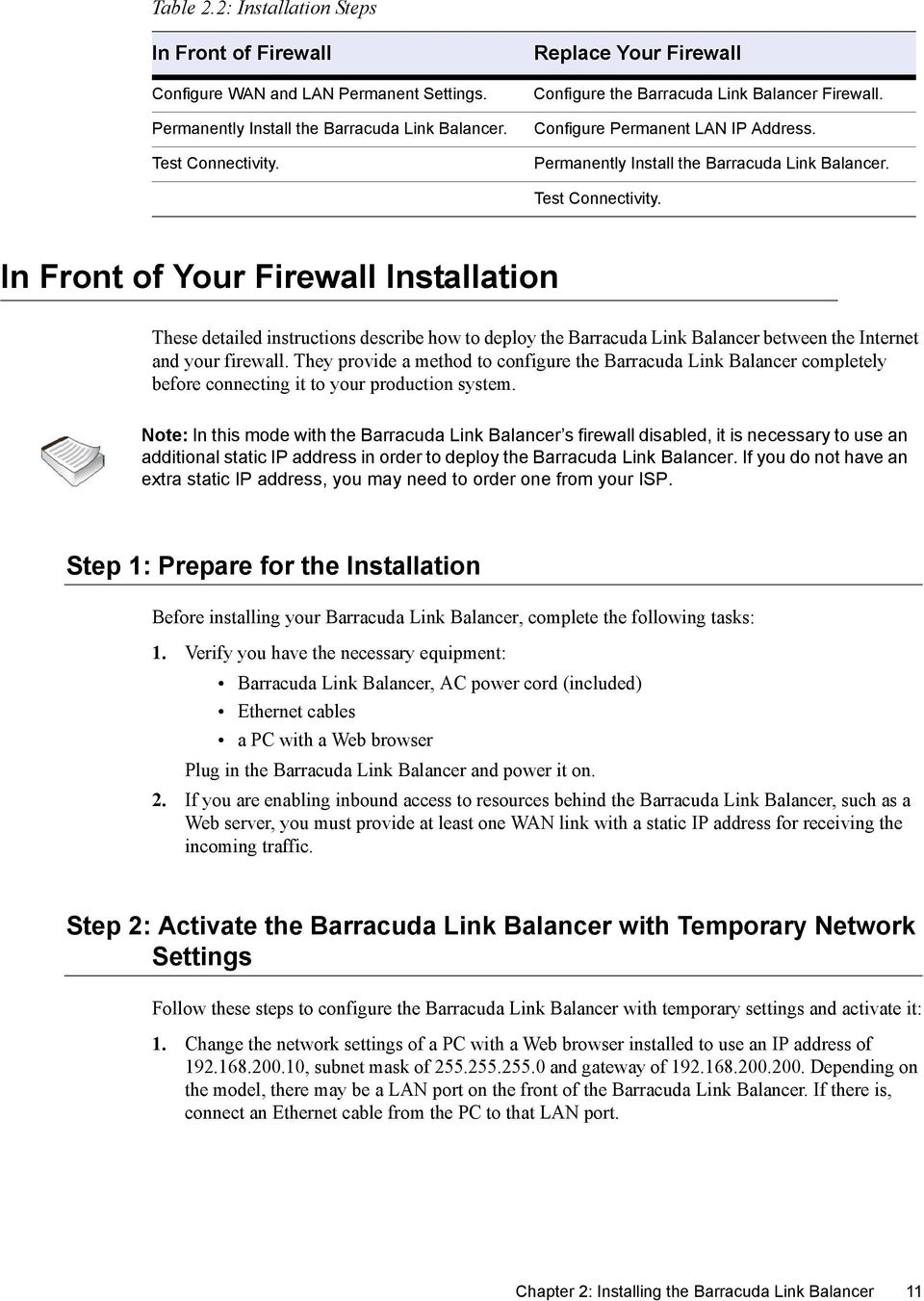 In Front of Your Firewall Installation These detailed instructions describe how to deploy the Barracuda Link Balancer between the Internet and your firewall.