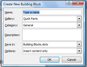 Create a Quick Part Quick Parts, also referred to as building blocks, are frequently used text saved in a gallery, from which it can be inserted quickly into a document.