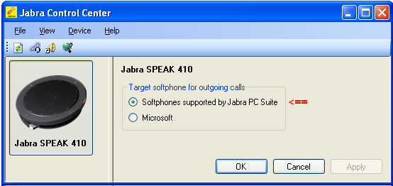 7. Configure Jabra PC Suite and Speak 410 USB This section describes the configured steps for the Jabra Speak 410 and Jabra PC Suite software and the connection of Jabra Speak 410 to the Agent
