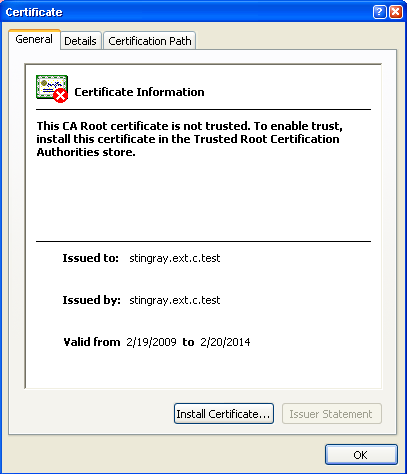 6 Click View Certificates. The Certificates window appears.