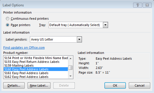 LABELS The Mail merge wizard also assists in creating labels. Step 1 of 6: Select the document type. For a Mail Merge Label, put the radio button in Labels.