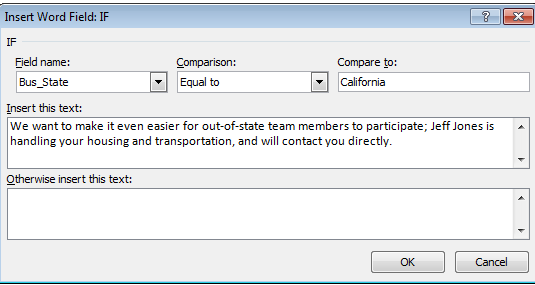 Merge using IF fields Use IF Fields for conditional responses. You can examine the data to determine and conditionally modify the content of the letter.