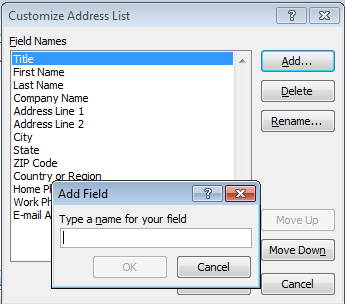 5. Select: Type New List. The New Address list window opens with the default columns. You can begin typing in your information. Click on New entry or just type in the first row of the list. 6.