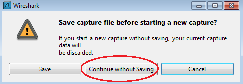 b. Make sure the check box next to the LAN interface is checked, and then click Start. c. A window prompts to save the previously captured data before starting another capture.