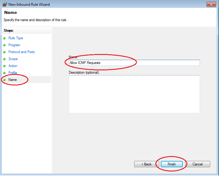g. In the left pane, click the Name option and in the Name field, type Allow ICMP Requests. Click Finish.