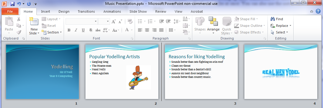 Microsoft PowerPoint Exercises 4 In these exercises, you will be working with your Music Presentation file used in part 1 and 2. Open that file if you haven t already done so. Exercise 1.