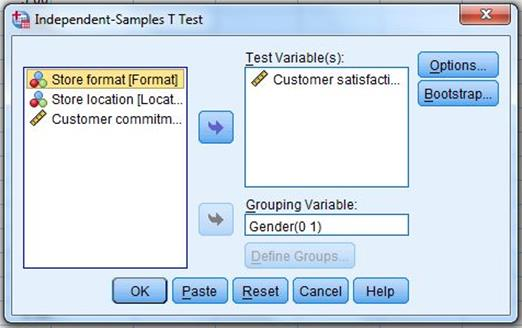 4. Click OK. The output is shown in Figure 43. It includes a test for equality of variance and reports the test results both with and without the assumption that variances are equal.