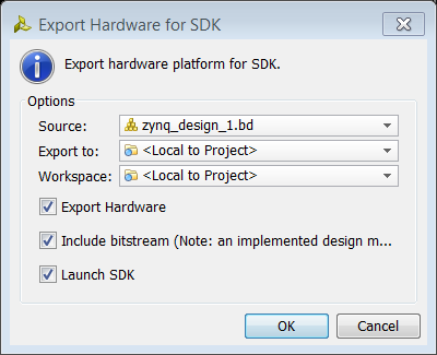 IMPORTANT: For the Digilent driver to install, you must power on and connect the board to the host PC before launching SDK. Export to SDK 1.