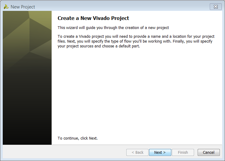 2. From the Getting Started page, select Create New Project. The New Project wizard opens (FIGURE 2). 3. Click Next Figure 2: Create New Project Wizard 4.