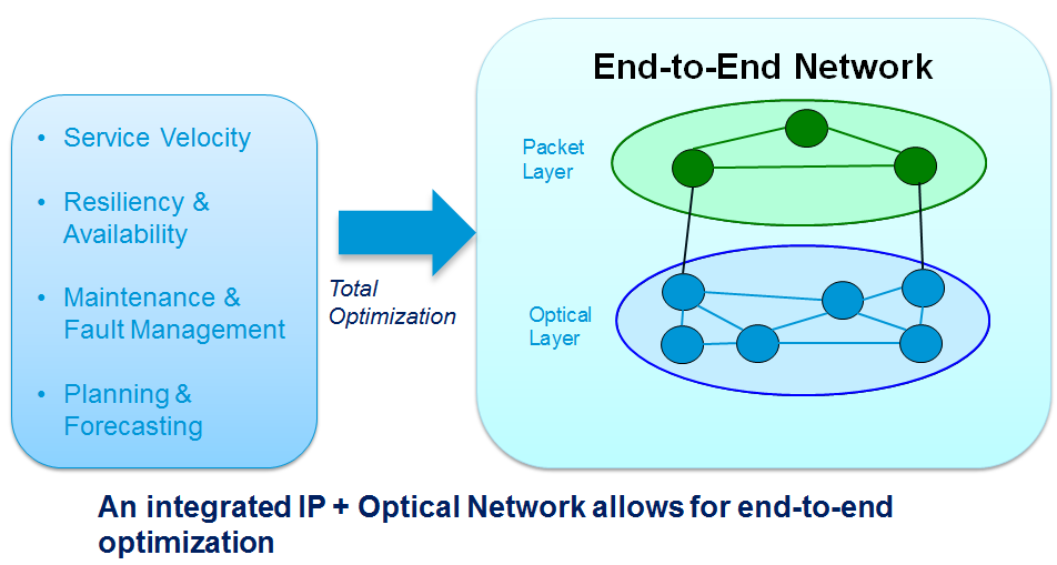 Figure 1 The Network Optimization Problem Today, IP and optical networks are typically operated as independent networks by separate network operations departments.