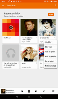 The Play Music app opens to Listen Now. 2. Tap > Add to playlist. 3. Tap New playlist.
