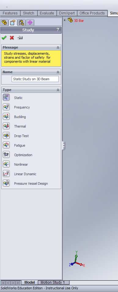 The SolidWorks model tree will appear with the given part name at the top. Above the model tree, there should be various tabs labeled Features, Sketch, etc.