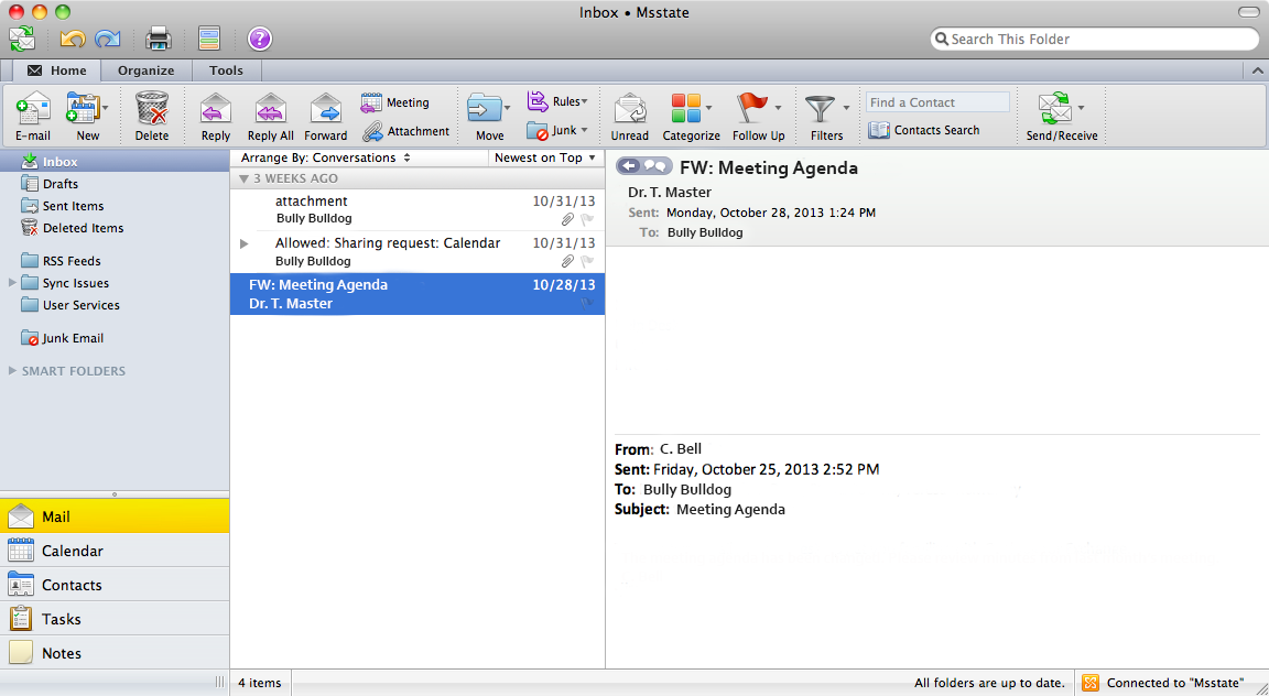 Outlook 2011 for Mac is the email client for Microsoft Exchange. It is a comprehensive collaboration tool for organizing all your email, calendars, contacts and appointments.