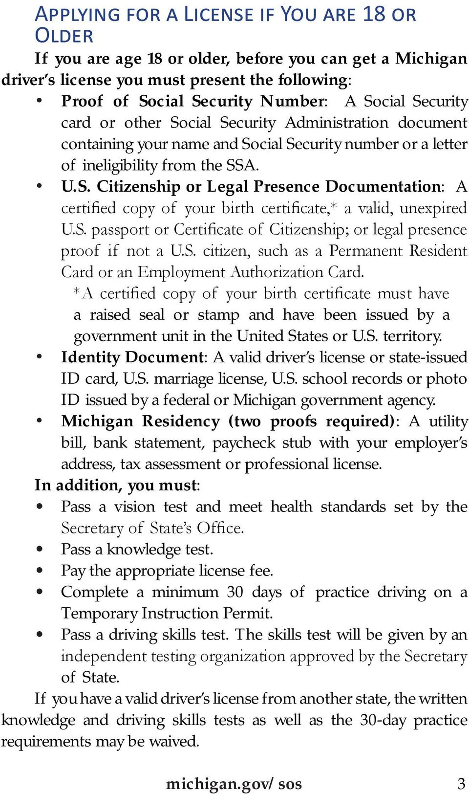 S. passport or Certificate of Citizenship; or legal presence proof if not a U.S. citizen, such as a Permanent Resident Card or an Employment Authorization Card.