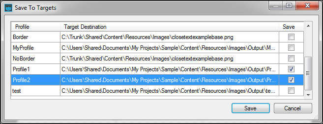 Now you are ready to save the image. Instead of clicking the usual Save button, you select File>Save>Save To Targets (ribbon) or File>Save To Targets (menu).