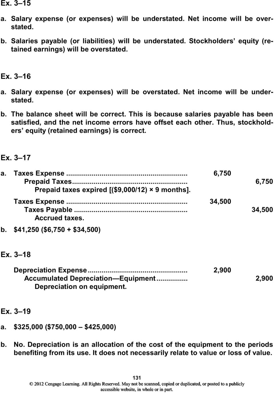 This is because salaries payable has been satisfied, and the net income errors have offset each other. Thus, stockholders equity (retained earnings) is correct. Ex. 3 17 a. Taxes Expense.