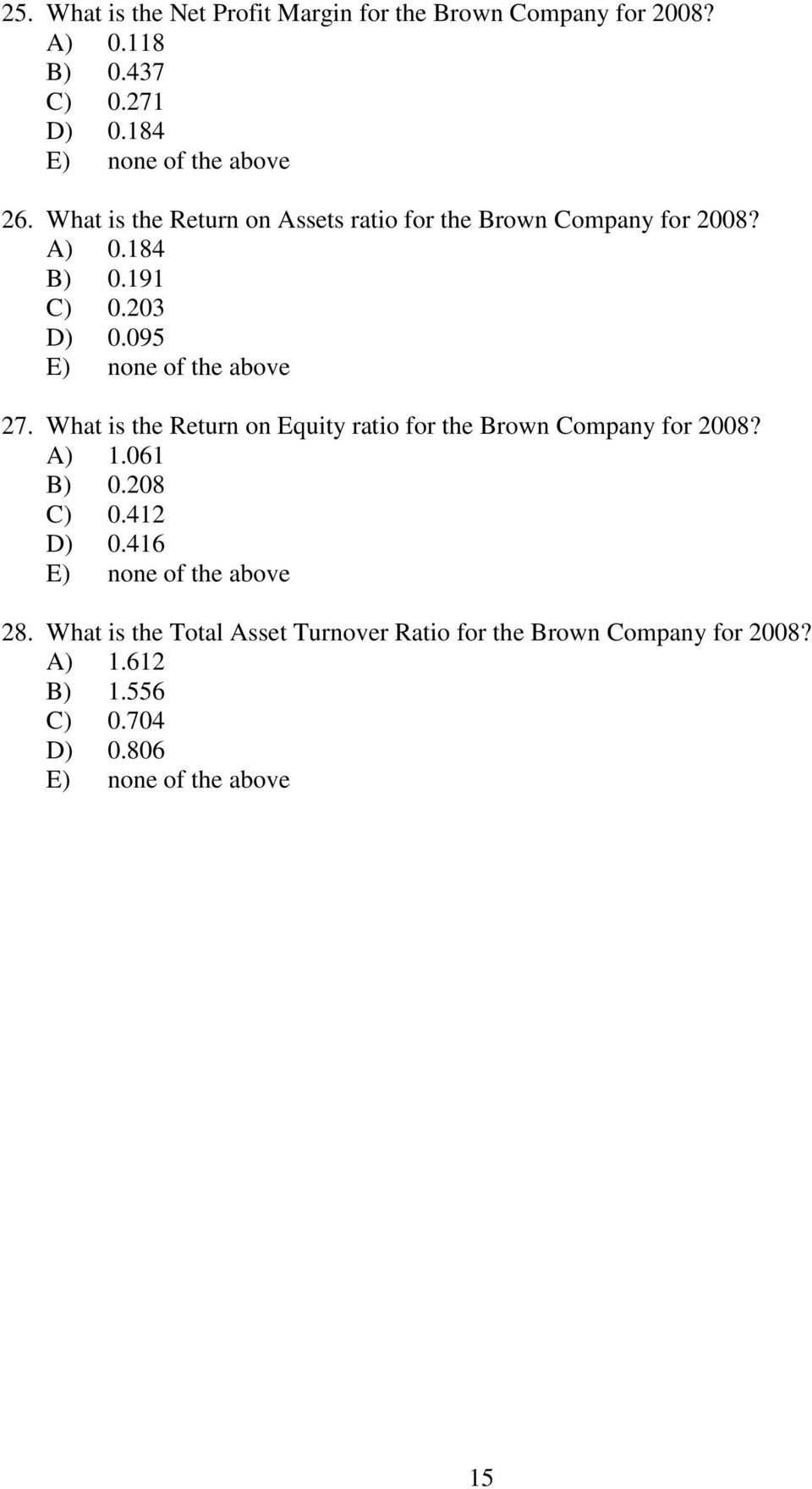 What is the Return on Equity ratio for the Brown Company for 2008? A) 1.061 B) 0.208 C) 0.412 D) 0.416 28.
