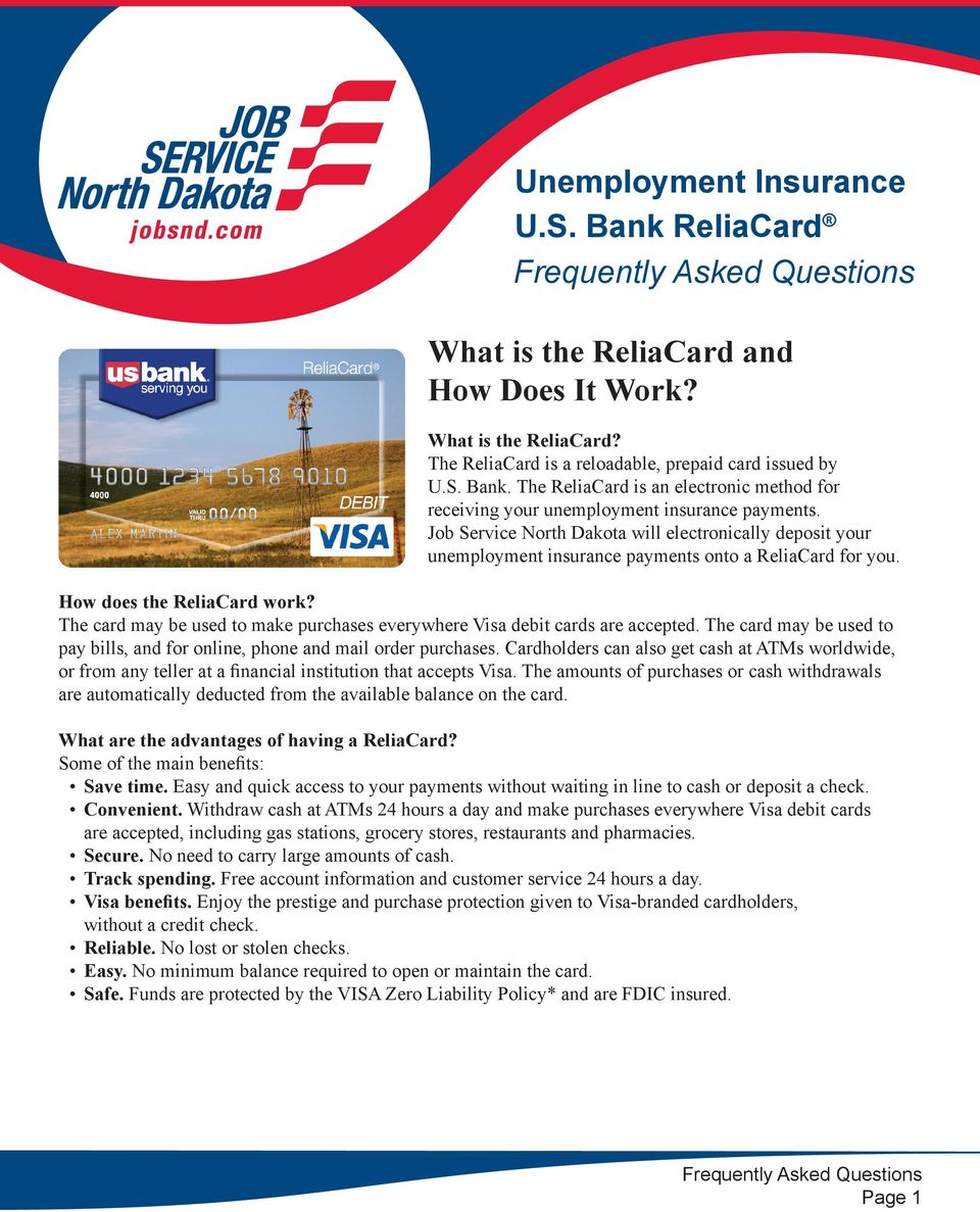unemployment insurance u s bank reliacard frequently asked the card be used to make purchases everywhere visa debit cards are accepted the
